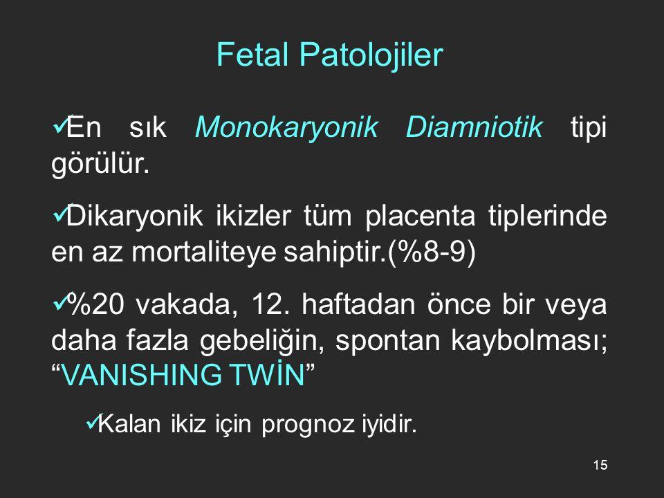 15 En sık Monokaryonik Diamniotik tipi görülür. Dikaryonik ikizler tüm placenta tiplerinde en az mortaliteye sahiptir.(%8-9) %20 vakada, 12. haftadan