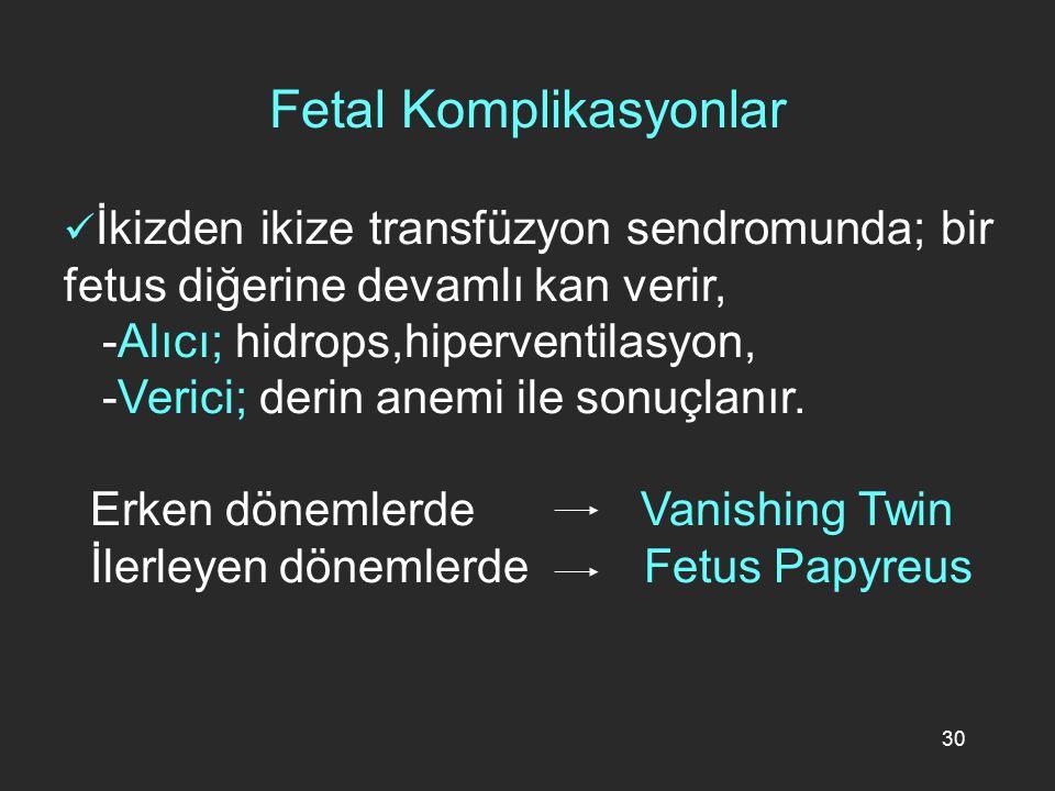 30 İkizden ikize transfüzyon sendromunda; bir fetus diğerine devamlı kan verir, -Alıcı; hidrops,hiperventilasyon, -Verici; derin anemi ile sonuçlanır.
