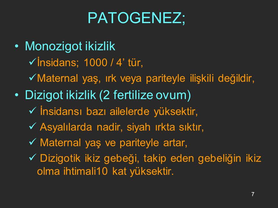 7 PATOGENEZ; Monozigot ikizlik İnsidans; 1000 / 4' tür, Maternal yaş, ırk veya pariteyle ilişkili değildir, Dizigot ikizlik (2 fertilize ovum) İnsidan