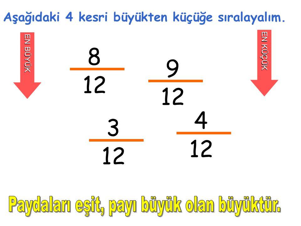 8 12 Aşağıdaki 4 kesri büyükten küçüğe sıralayalım. EN KÜÇÜK 9 12 3 4 EN BÜYÜK