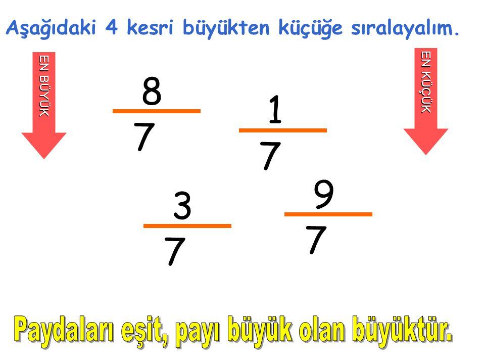 8 7 Aşağıdaki 4 kesri büyükten küçüğe sıralayalım. EN BÜYÜK EN KÜÇÜK 1 7 3 7 9 7