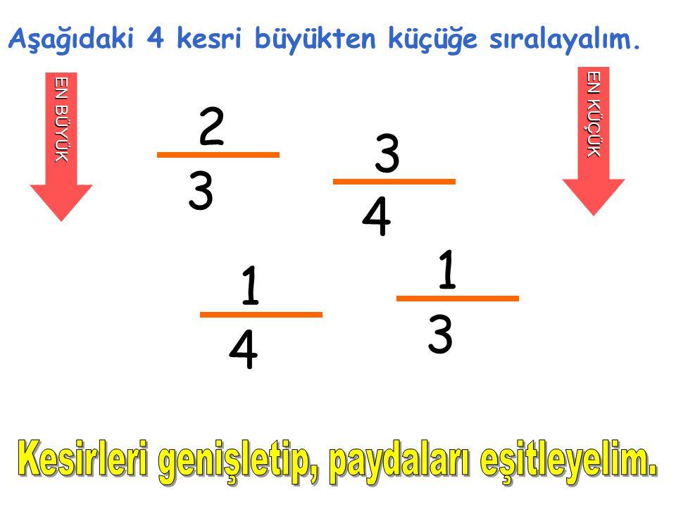 2 3 Aşağıdaki 4 kesri büyükten küçüğe sıralayalım. EN BÜYÜK EN KÜÇÜK 3 4 1 4 1 3