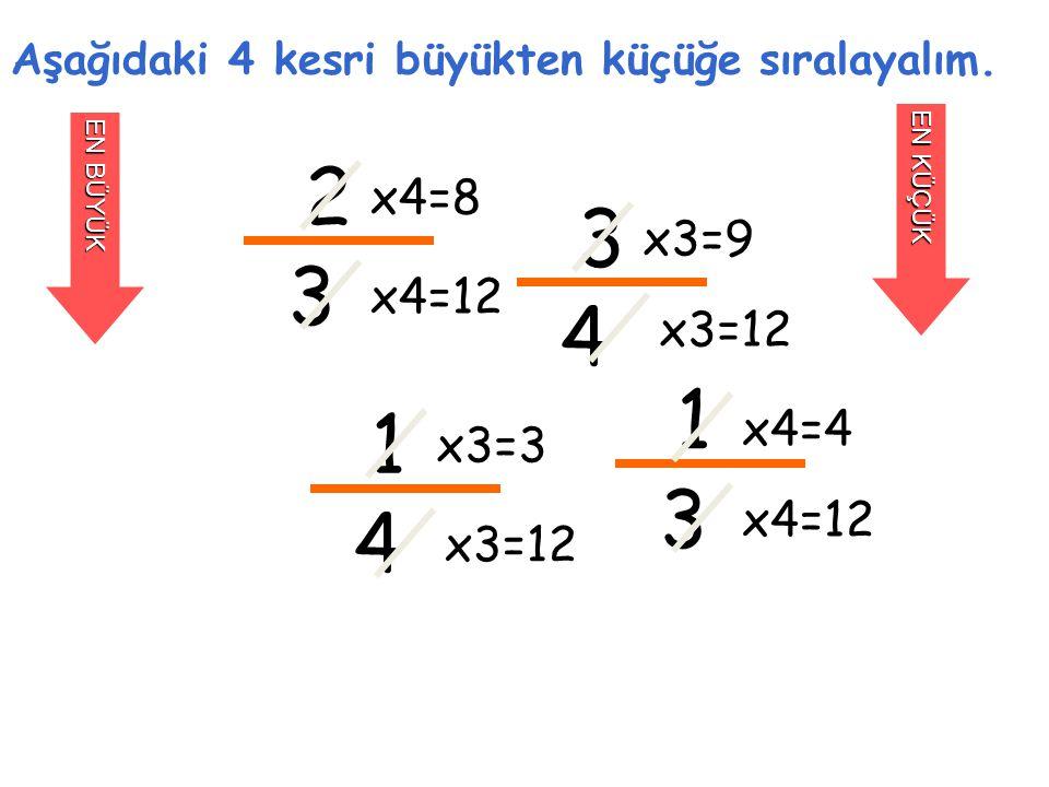 2 3 Aşağıdaki 4 kesri büyükten küçüğe sıralayalım. EN BÜYÜK EN KÜÇÜK 3 4 1 4 1 3 x4=8 x4=12 x3=9 x3=12 x3=3 x3=12 x4=4 x4=12