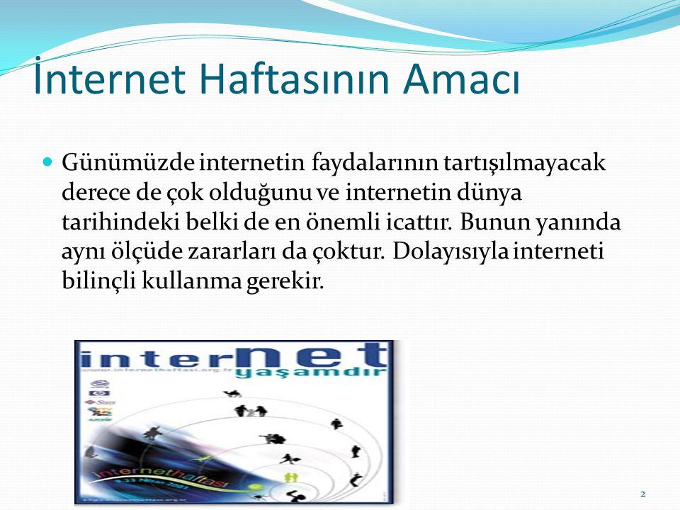 İnternet Haftasının Amacı Günümüzde internetin faydalarının tartışılmayacak derece de çok olduğunu ve internetin dünya tarihindeki belki de en önemli