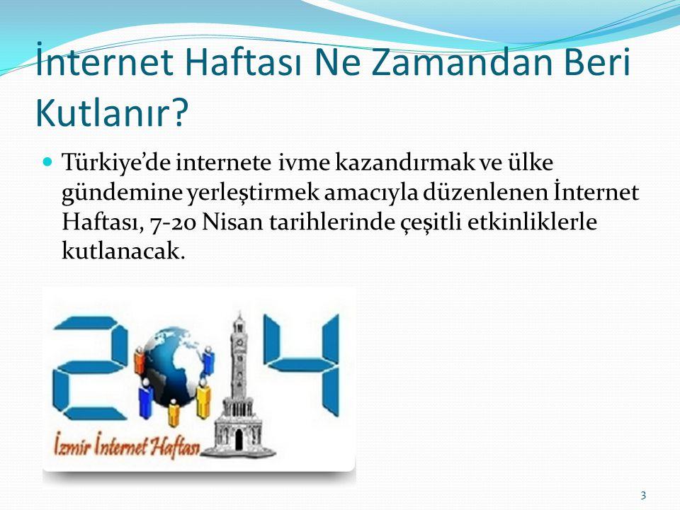 İnternet Haftası Ne Zamandan Beri Kutlanır? Türkiye'de internete ivme kazandırmak ve ülke gündemine yerleştirmek amacıyla düzenlenen İnternet Haftası,