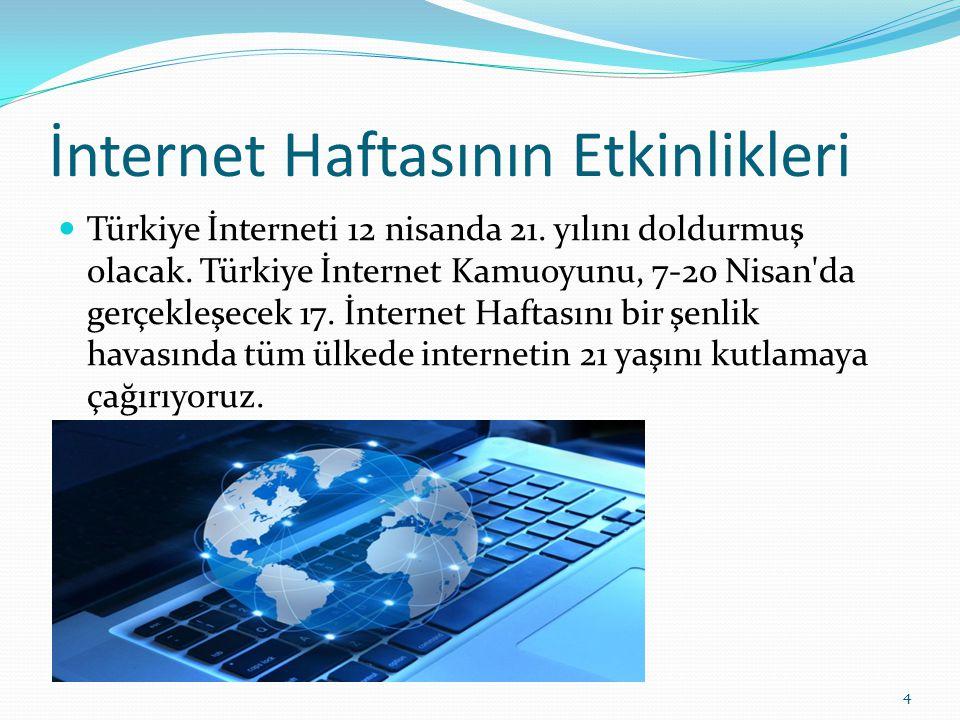 İnternet Haftasının Etkinlikleri Türkiye İnterneti 12 nisanda 21. yılını doldurmuş olacak. Türkiye İnternet Kamuoyunu, 7-20 Nisan'da gerçekleşecek 17.