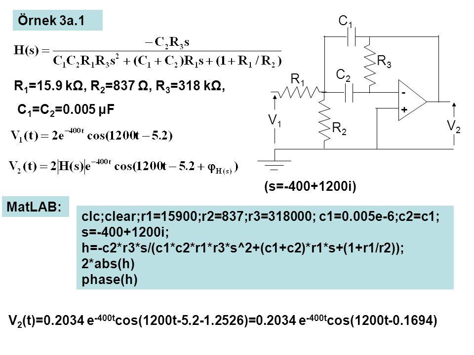 Örnek 3a.1 R 1 =15.9 kΩ, R 2 =837 Ω, R 3 =318 kΩ, C 1 =C 2 =0.005 μF (s=-400+1200i) MatLAB: clc;clear;r1=15900;r2=837;r3=318000; c1=0.005e-6;c2=c1; s=