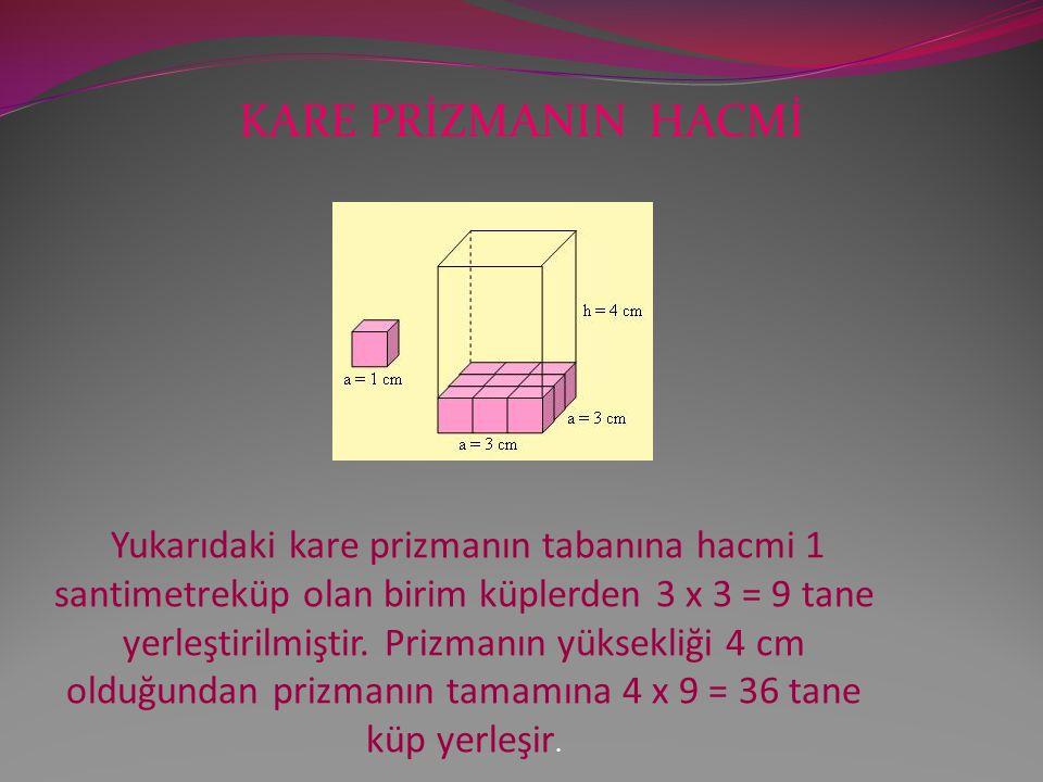 KARE PRİZMANIN HACMİ Yukarıdaki kare prizmanın tabanına hacmi 1 santimetreküp olan birim küplerden 3 x 3 = 9 tane yerleştirilmiştir.