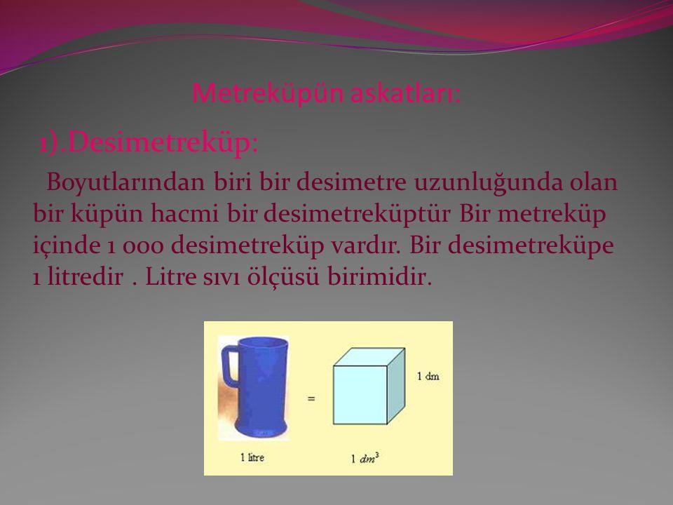 Metreküpün askatları: 1).Desimetreküp: Boyutlarından biri bir desimetre uzunluğunda olan bir küpün hacmi bir desimetreküptür Bir metreküp içinde 1 000 desimetreküp vardır.