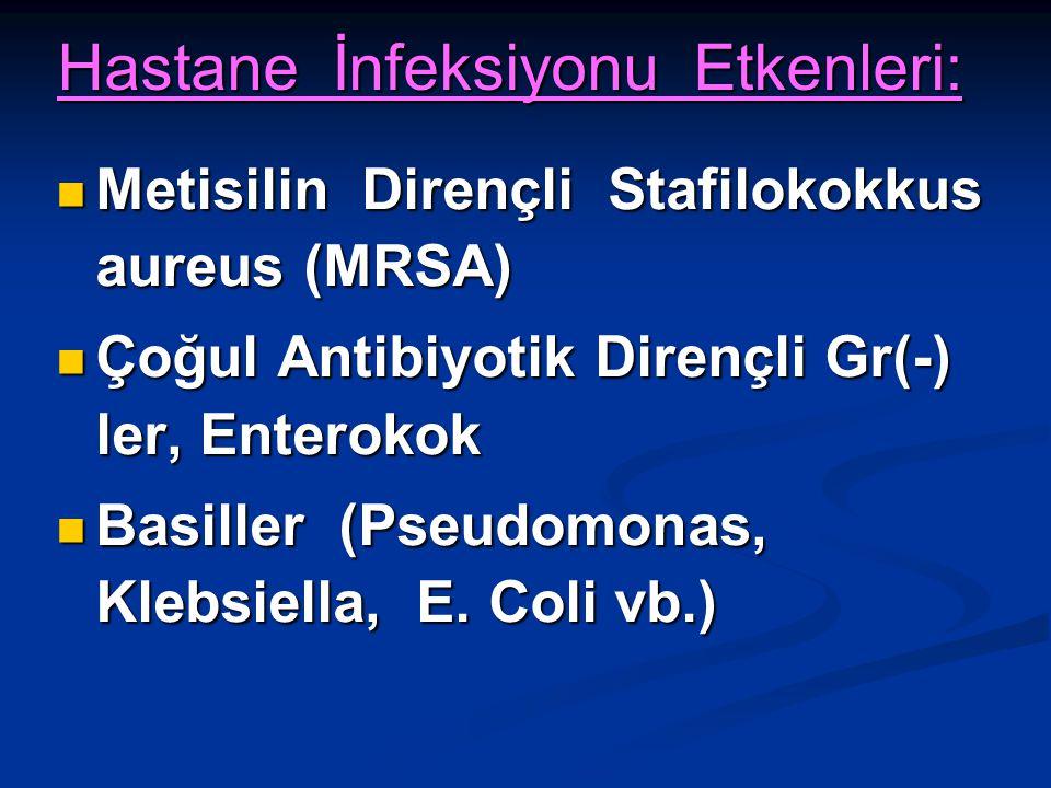 Hastane İnfeksiyonu Etkenleri: Metisilin Dirençli Stafilokokkus aureus (MRSA) Metisilin Dirençli Stafilokokkus aureus (MRSA) Çoğul Antibiyotik Dirençl