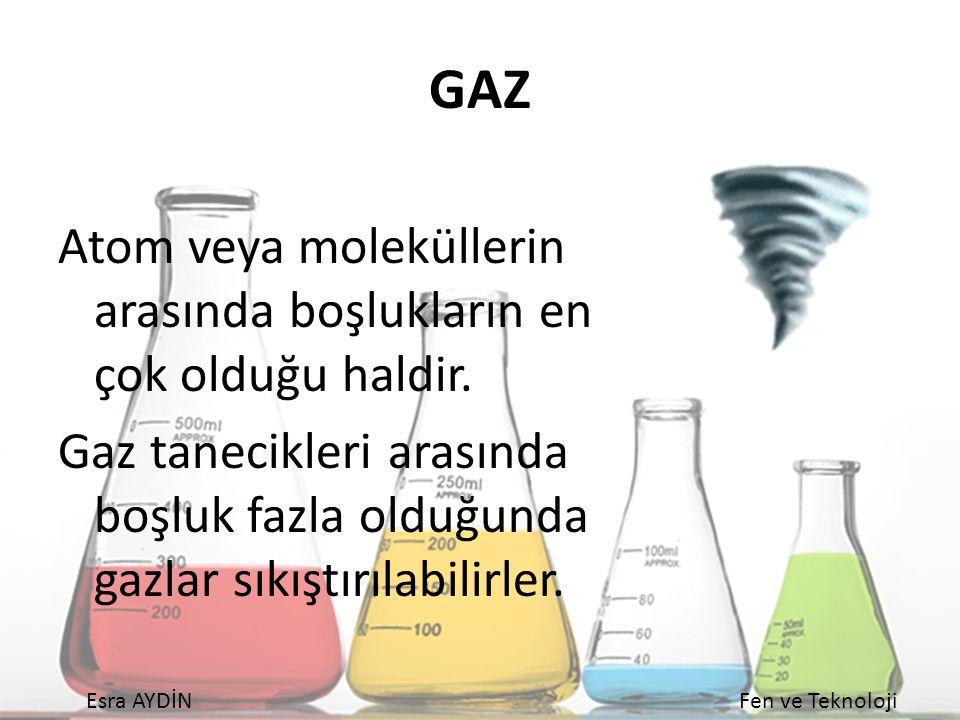 Esra AYDİNFen ve Teknoloji GAZ Atom veya moleküllerin arasında boşlukların en çok olduğu haldir. Gaz tanecikleri arasında boşluk fazla olduğunda gazla