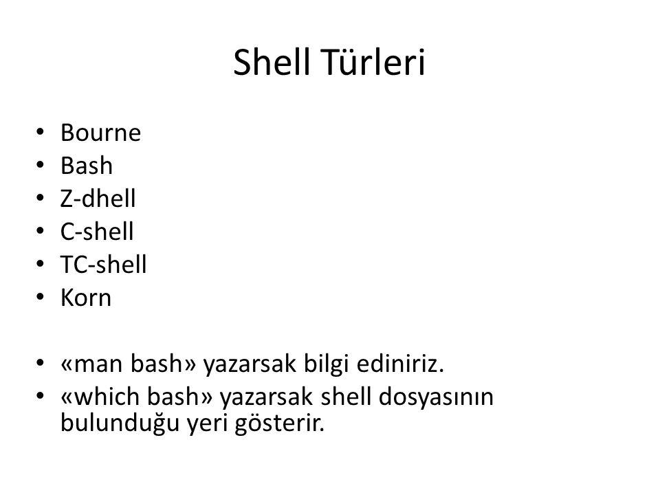 Shell Türleri Bourne Bash Z-dhell C-shell TC-shell Korn «man bash» yazarsak bilgi ediniriz. «which bash» yazarsak shell dosyasının bulunduğu yeri göst