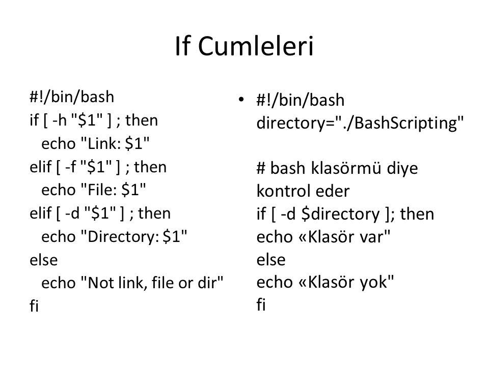 If Cumleleri #!/bin/bash if [ -h