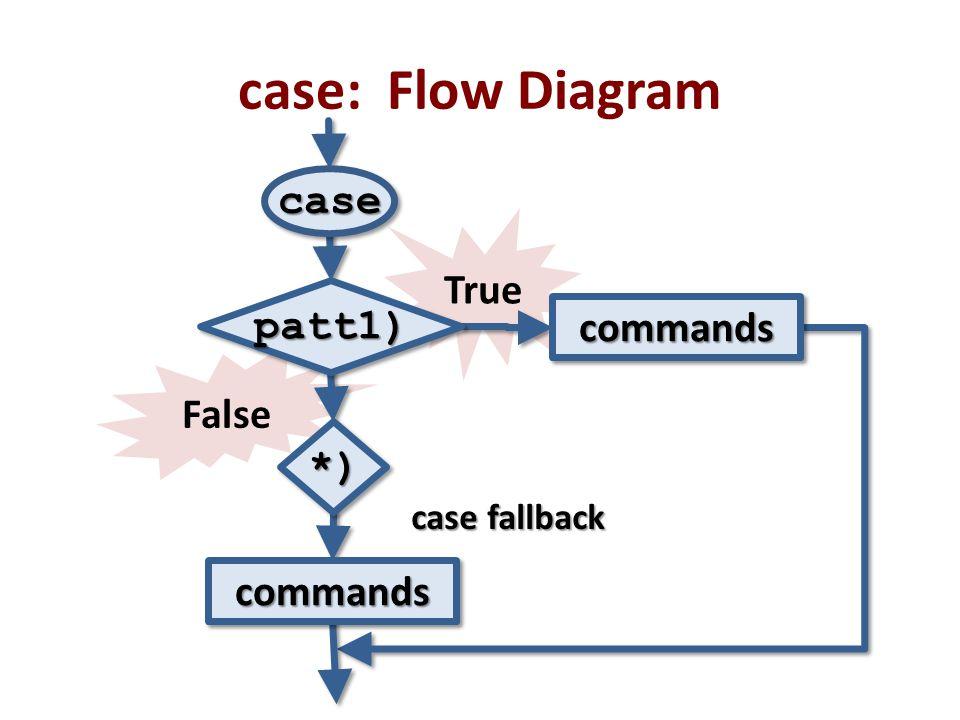 False True case: Flow Diagram casecase patt1)patt1) *)*) commandscommands commandscommands case fallback