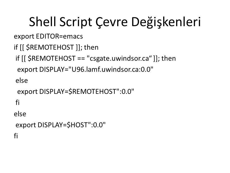 Shell Script Çevre Değişkenleri export EDITOR=emacs if [[ $REMOTEHOST ]]; then if [[ $REMOTEHOST ==