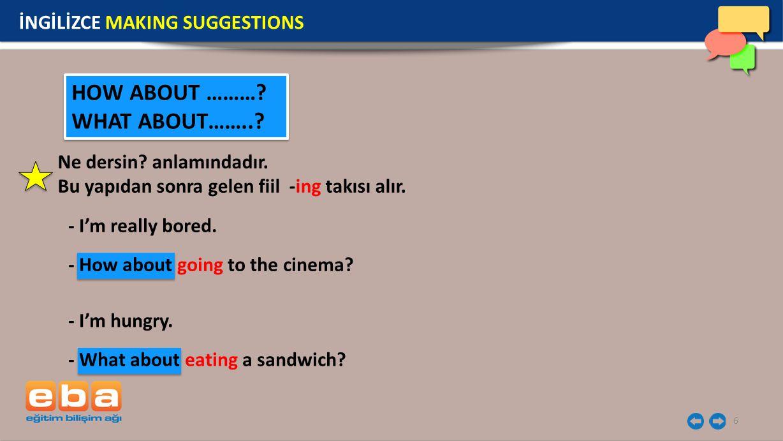 7 Teklif ya da önerilere olumlu cevap verirken; İNGİLİZCE MAKING SUGGESTIONS Olumsuz cevap verirken; Yes, of course.