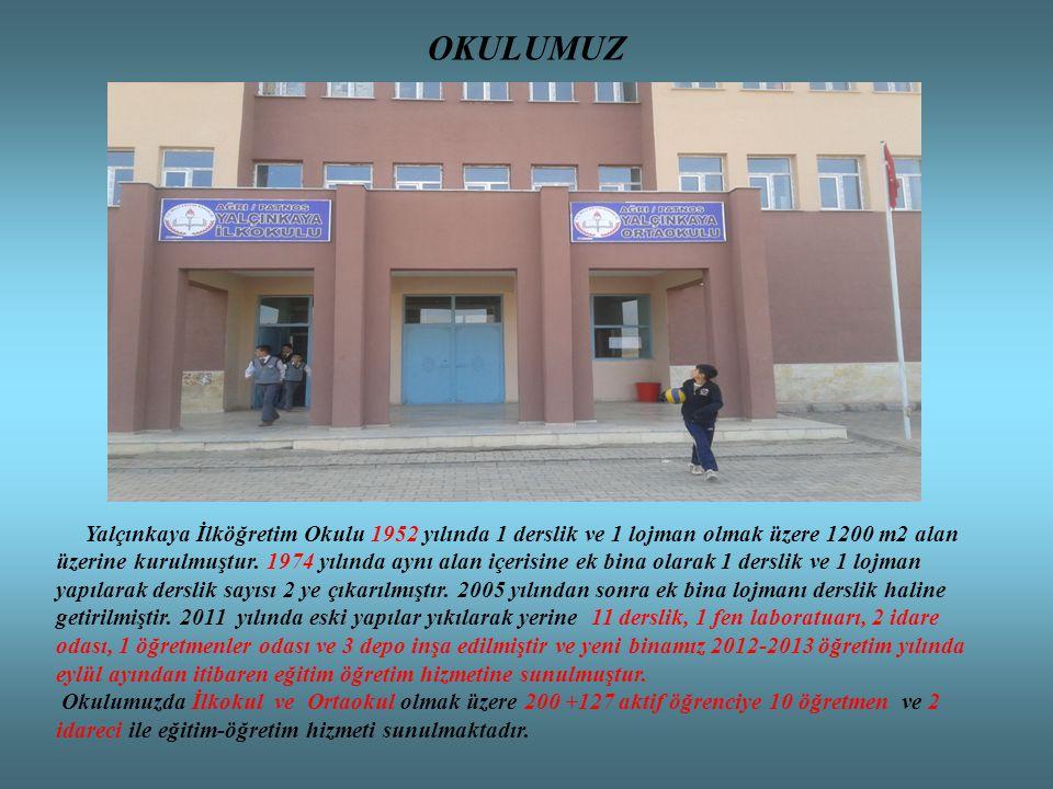 OKULUMUZ Yalçınkaya İlköğretim Okulu 1952 yılında 1 derslik ve 1 lojman olmak üzere 1200 m2 alan üzerine kurulmuştur. 1974 yılında aynı alan içerisine