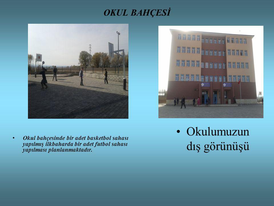 OKUL BAHÇESİ Okul bahçesinde bir adet basketbol sahası yapılmış ilkbaharda bir adet futbol sahası yapılması planlanmaktadır. Okulumuzun dış görünüşü