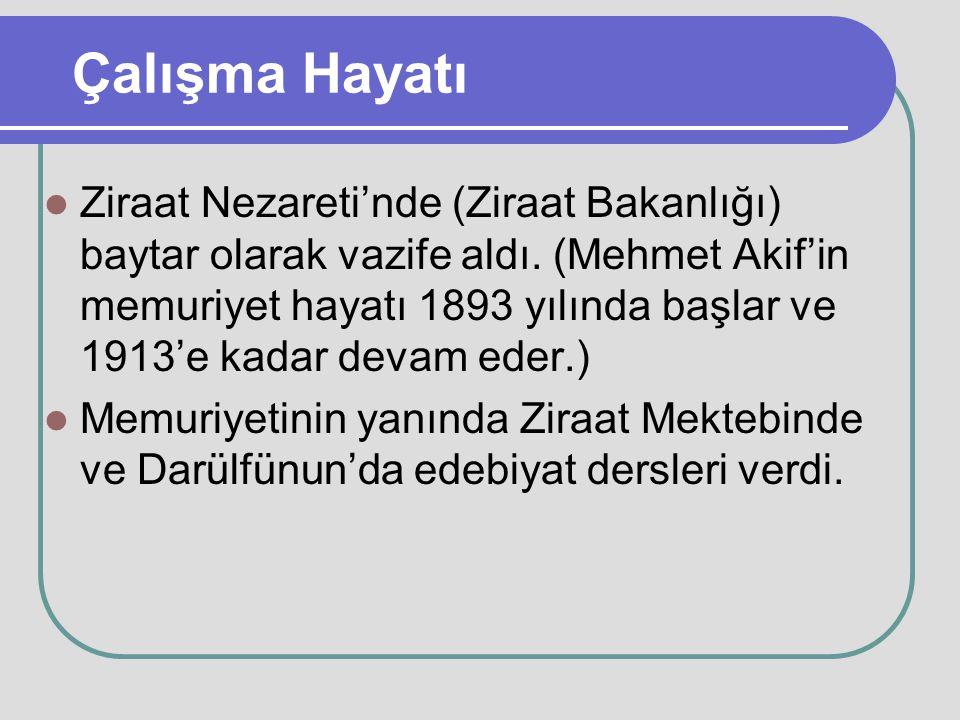 Çalışma Hayatı Ziraat Nezareti'nde (Ziraat Bakanlığı) baytar olarak vazife aldı. (Mehmet Akif'in memuriyet hayatı 1893 yılında başlar ve 1913'e kadar