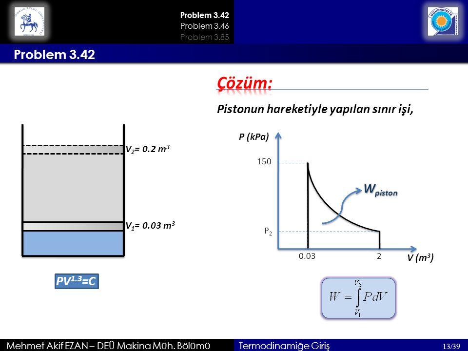 Problem 3.42 Mehmet Akif EZAN – DEÜ Makina Müh. Bölümü Problem 3.42 13/39 Problem 3.46 Termodinamiğe Giriş PV 1.3 =C V 1 = 0.03 m 3 V 2 = 0.2 m 3 Pist