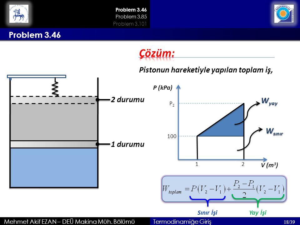 Mehmet Akif EZAN – DEÜ Makina Müh. Bölümü 18/39 Termodinamiğe Giriş Problem 3.46 1 durumu 2 durumu Pistonun hareketiyle yapılan toplam iş, P (kPa) V (