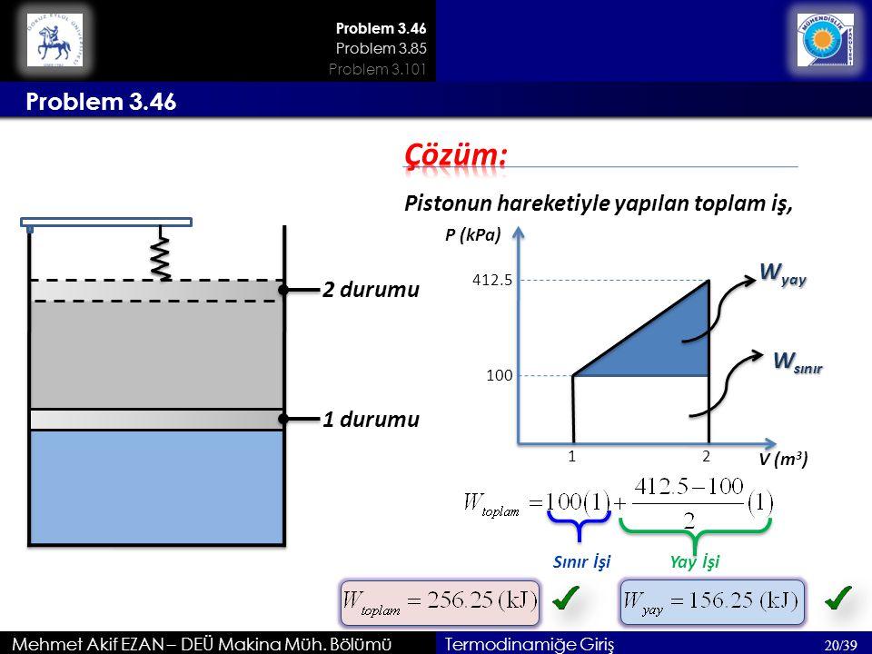Mehmet Akif EZAN – DEÜ Makina Müh. Bölümü 20/39 Termodinamiğe Giriş Problem 3.46 1 durumu 2 durumu Pistonun hareketiyle yapılan toplam iş, P (kPa) V (