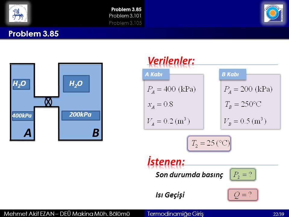 A Kabı Mehmet Akif EZAN – DEÜ Makina Müh. Bölümü 22/39 Termodinamiğe Giriş Son durumda basınç Problem 3.85 Isı Geçişi H2OH2O A 400kPa B H2OH2O B Kabı