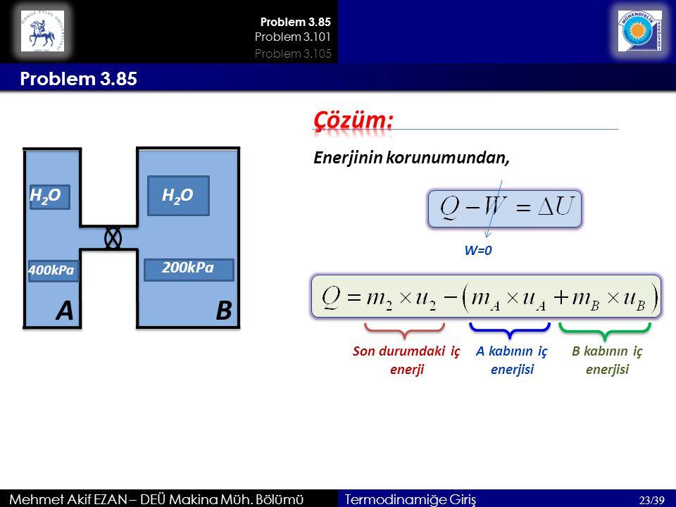 Mehmet Akif EZAN – DEÜ Makina Müh. Bölümü 23/39 Termodinamiğe Giriş Problem 3.85 Enerjinin korunumundan, Son durumdaki iç enerji H2OH2O A 400kPa B H2O