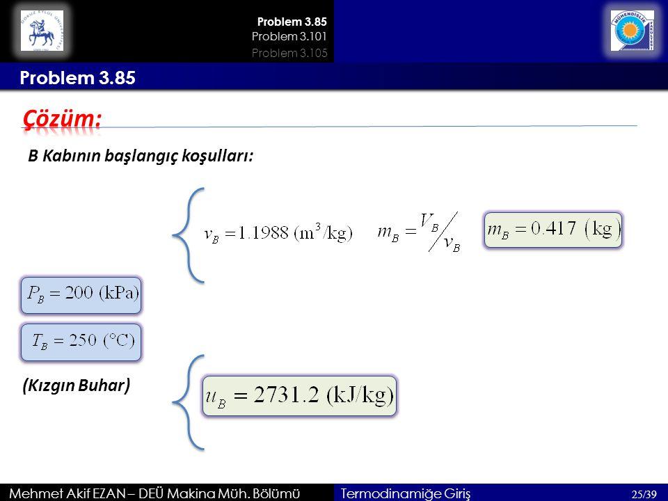 Mehmet Akif EZAN – DEÜ Makina Müh. Bölümü 25/39 Termodinamiğe Giriş Problem 3.85 B Kabının başlangıç koşulları: 200kPa (Kızgın Buhar) Problem 3.85 Pro