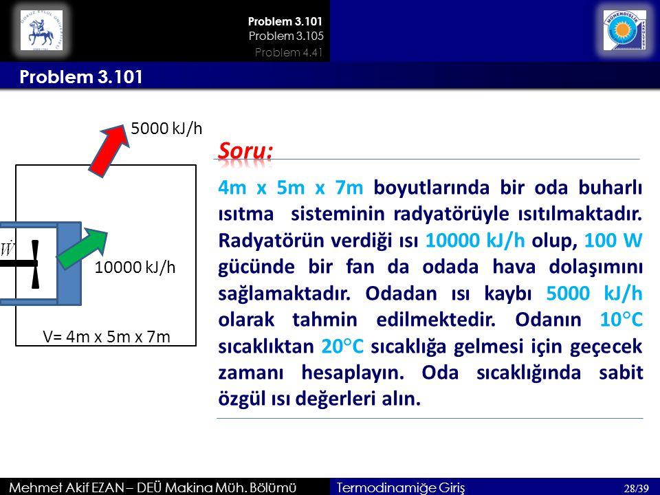 Mehmet Akif EZAN – DEÜ Makina Müh. Bölümü Problem 3.101 28/39 Termodinamiğe Giriş 4m x 5m x 7m boyutlarında bir oda buharlı ısıtma sisteminin radyatör
