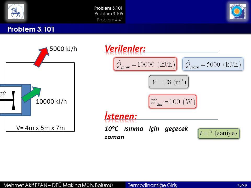 Mehmet Akif EZAN – DEÜ Makina Müh. Bölümü Problem 3.101 29/39 Termodinamiğe Giriş Problem 3.101 5000 kJ/h 10000 kJ/h V= 4m x 5m x 7m 10°C ısınma için