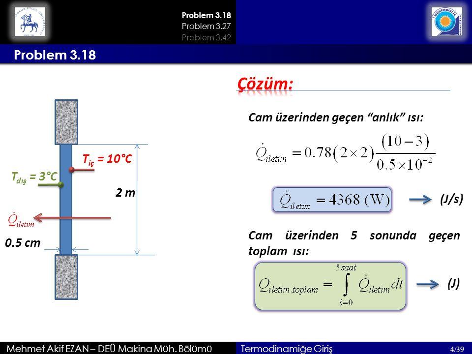 """Mehmet Akif EZAN – DEÜ Makina Müh. Bölümü 4/39 Termodinamiğe Giriş Cam üzerinden geçen """"anlık"""" ısı: Problem 3.18 Problem 3.27 Problem 3.42 2 m T iç ="""