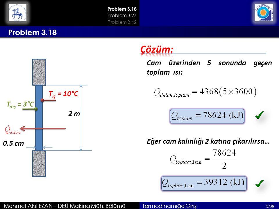 Mehmet Akif EZAN – DEÜ Makina Müh. Bölümü 5/39 Termodinamiğe Giriş Problem 3.18 Problem 3.27 Problem 3.42 2 m T iç = 10°C T dış = 3°C Cam üzerinden 5