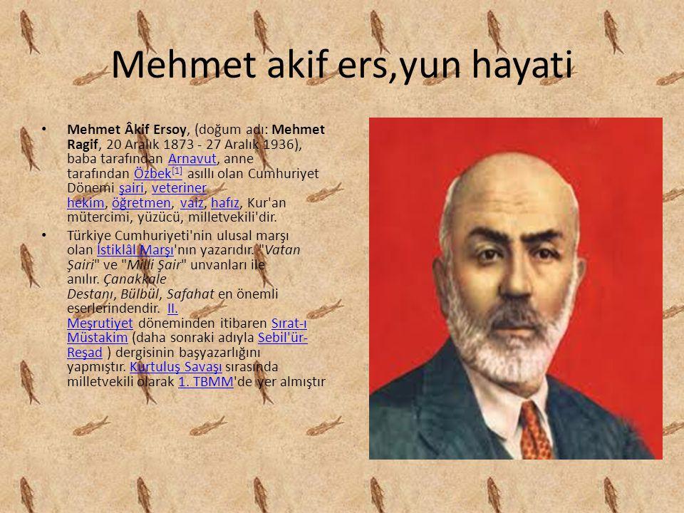 Mehmet akif ers,yun hayati Mehmet Âkif Ersoy, (doğum adı: Mehmet Ragif, 20 Aralık 1873 - 27 Aralık 1936), baba tarafından Arnavut, anne tarafından Özb