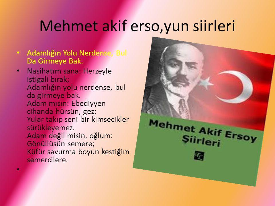 Mehmet akif erso,yun sözleri Gelmişiz dünyaya milliyet nedir öğronlar ömür boyu gayret ediyorlar; sen ömür boyu hayret ediyorsun.