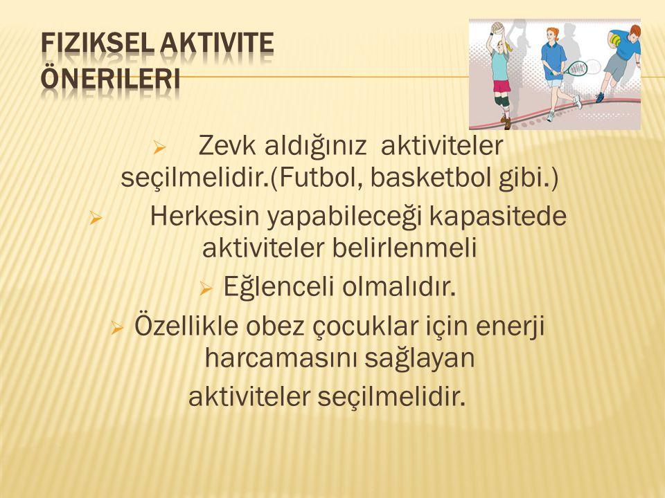 Zevk aldığınız aktiviteler seçilmelidir.(Futbol, basketbol gibi.)  Herkesin yapabileceği kapasitede aktiviteler belirlenmeli  Eğlenceli olmalıdır.