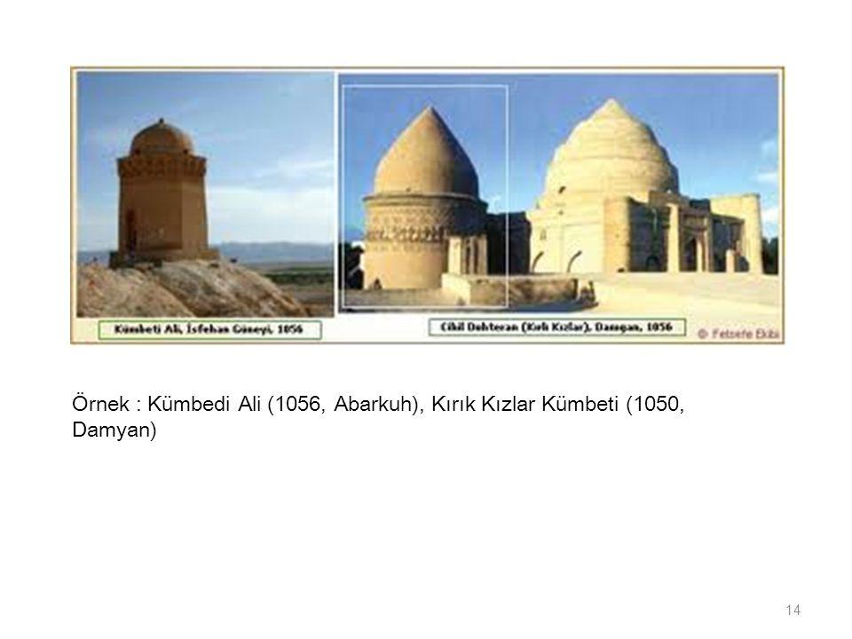 14 Örnek : Kümbedi Ali (1056, Abarkuh), Kırık Kızlar Kümbeti (1050, Damyan)