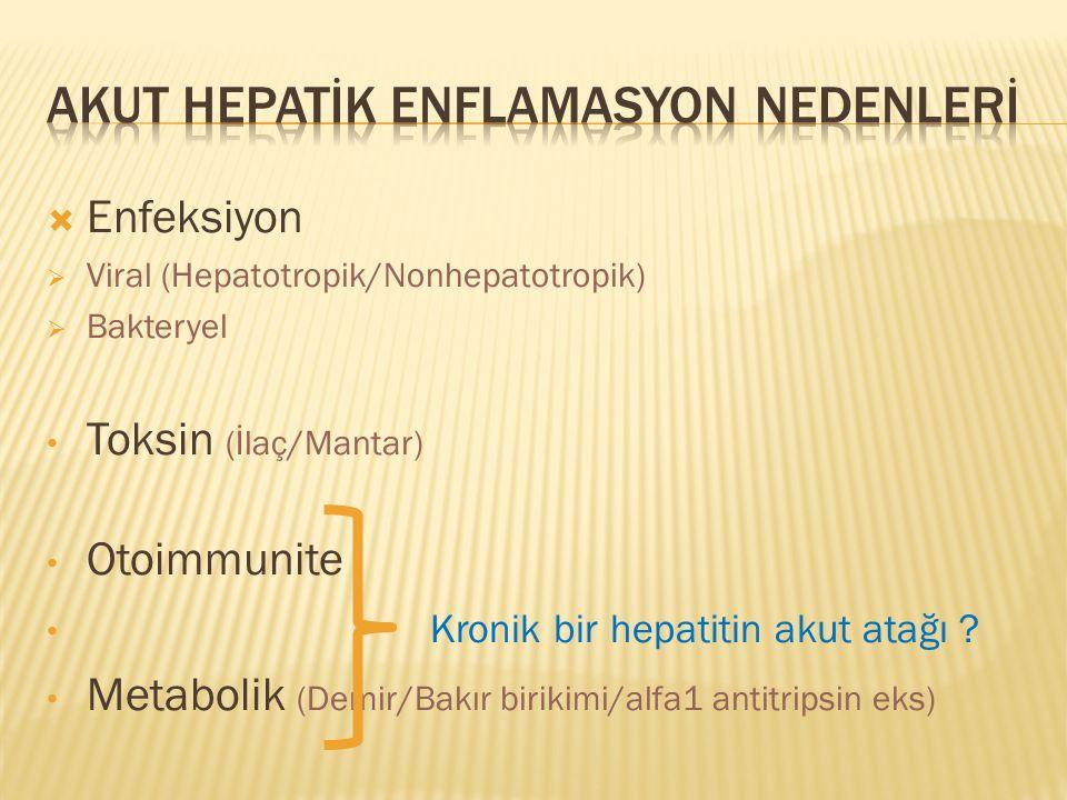  Enfeksiyon  Viral (Hepatotropik/Nonhepatotropik)  Bakteryel Toksin (İlaç/Mantar) Otoimmunite Kronik bir hepatitin akut atağı .