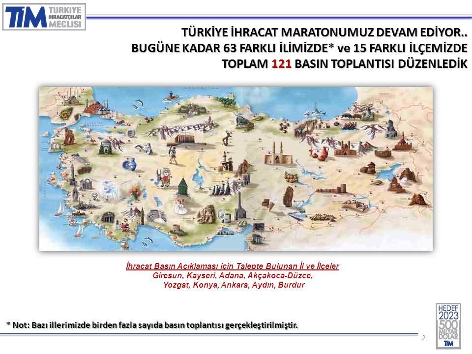 22 TÜRKİYE İHRACAT MARATONUMUZ DEVAM EDİYOR.. BUGÜNE KADAR 63 FARKLI İLİMİZDE* ve 15 FARKLI İLÇEMİZDE TOPLAM 121 BASIN TOPLANTISI DÜZENLEDİK İhracat B
