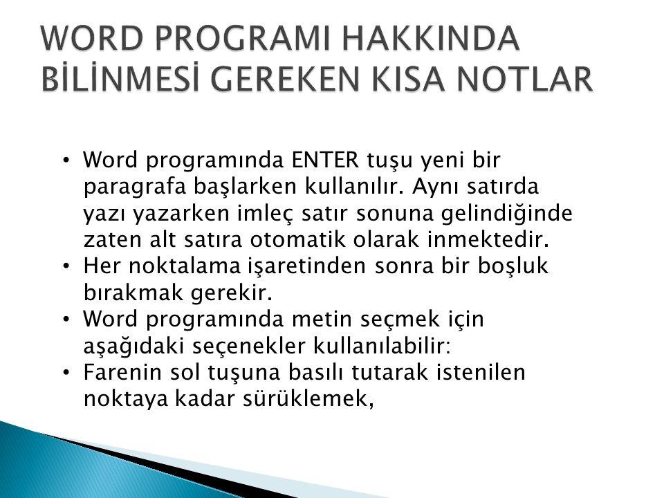 Word programında ENTER tuşu yeni bir paragrafa başlarken kullanılır. Aynı satırda yazı yazarken imleç satır sonuna gelindiğinde zaten alt satıra otoma