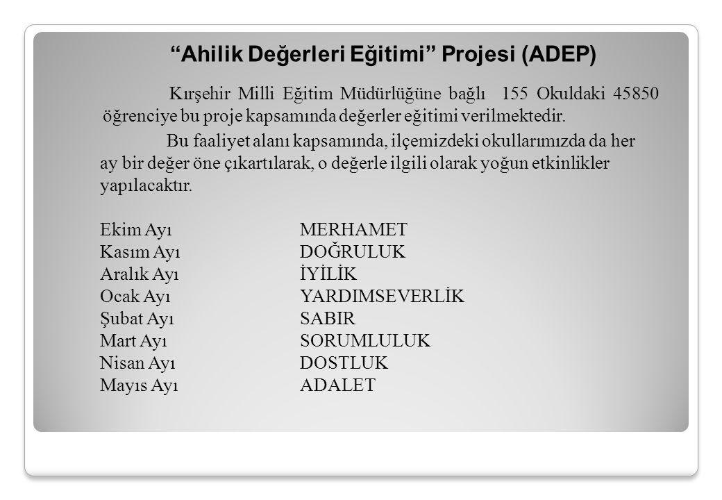 Ahilik Değerleri Eğitimi Projesi (ADEP) Bu faaliyet alanı kapsamında, ilçemizdeki okullarımızda da her ay bir değer öne çıkartılarak, o değerle ilgili olarak yoğun etkinlikler yapılacaktır.