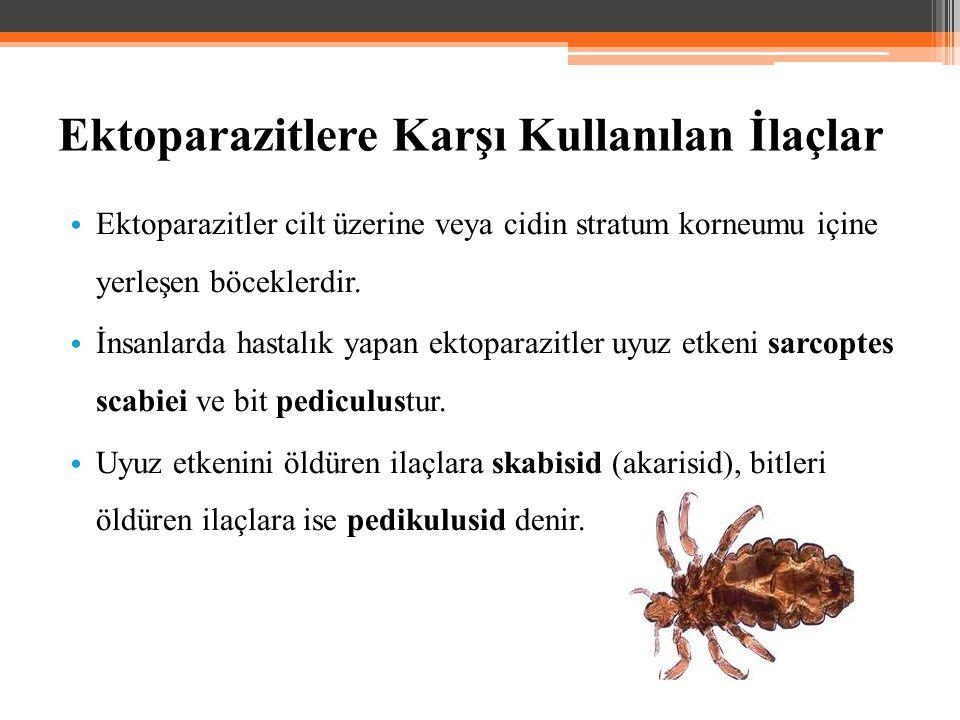 Ektoparazitlere Karşı Kullanılan İlaçlar Ektoparazitler cilt üzerine veya cidin stratum korneumu içine yerleşen böceklerdir. İnsanlarda hastalık yapan