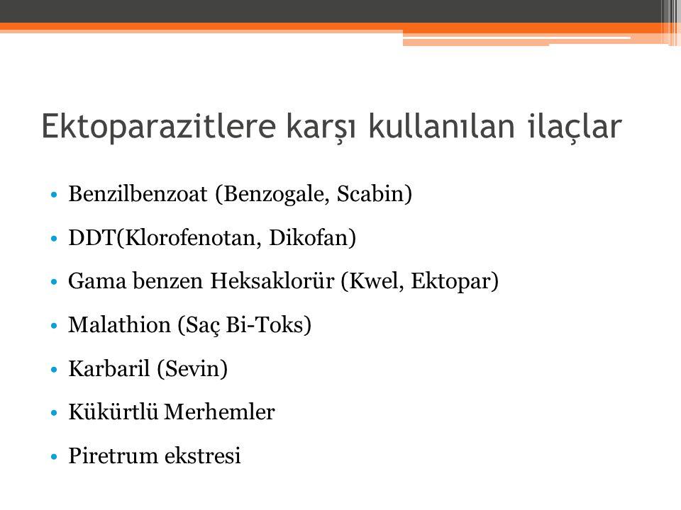 Ektoparazitlere karşı kullanılan ilaçlar Benzilbenzoat (Benzogale, Scabin) DDT(Klorofenotan, Dikofan) Gama benzen Heksaklorür (Kwel, Ektopar) Malathio