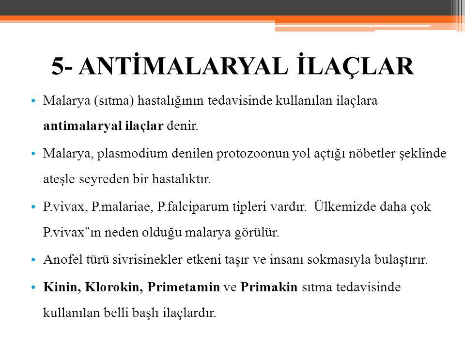 Malarya (sıtma) hastalığının tedavisinde kullanılan ilaçlara antimalaryal ilaçlar denir. Malarya, plasmodium denilen protozoonun yol açtığı nöbetler ş