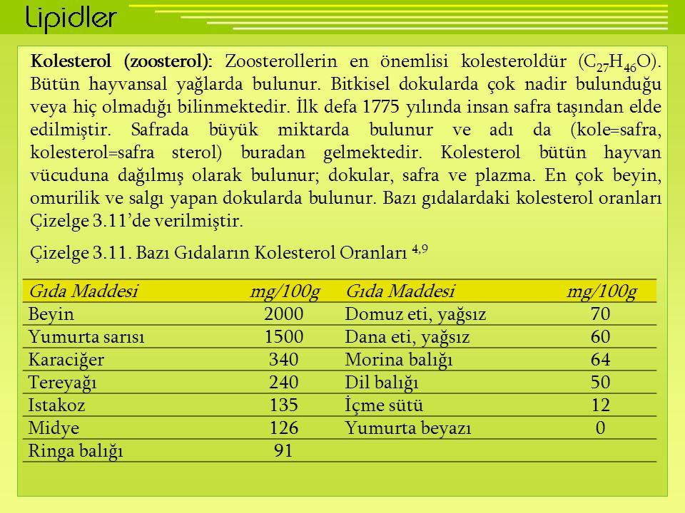 Kolesterol (zoosterol): Zoosterollerin en önemlisi kolesteroldür (C 27 H 46 O). Bütün hayvansal yağlarda bulunur. Bitkisel dokularda çok nadir bulundu