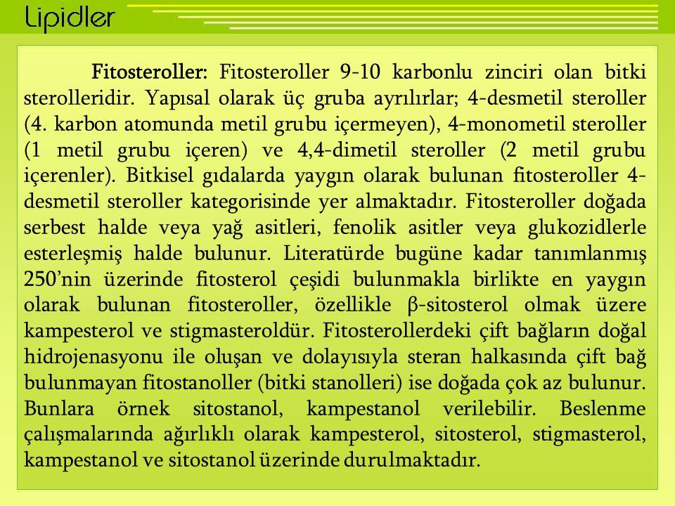 Fitosteroller: Fitosteroller 9-10 karbonlu zinciri olan bitki sterolleridir. Yapısal olarak üç gruba ayrılırlar; 4-desmetil steroller (4. karbon atomu