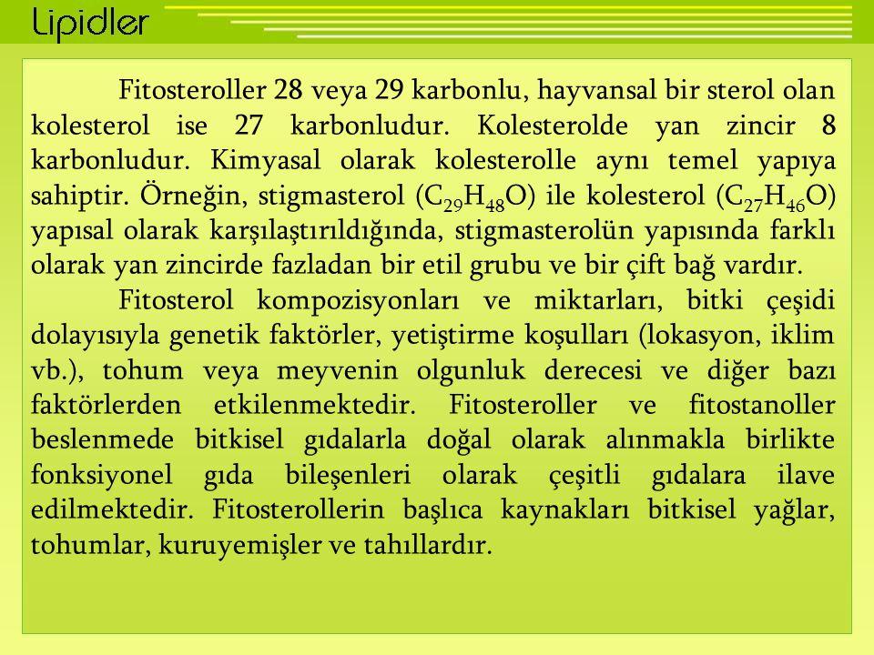 Fitosteroller 28 veya 29 karbonlu, hayvansal bir sterol olan kolesterol ise 27 karbonludur.