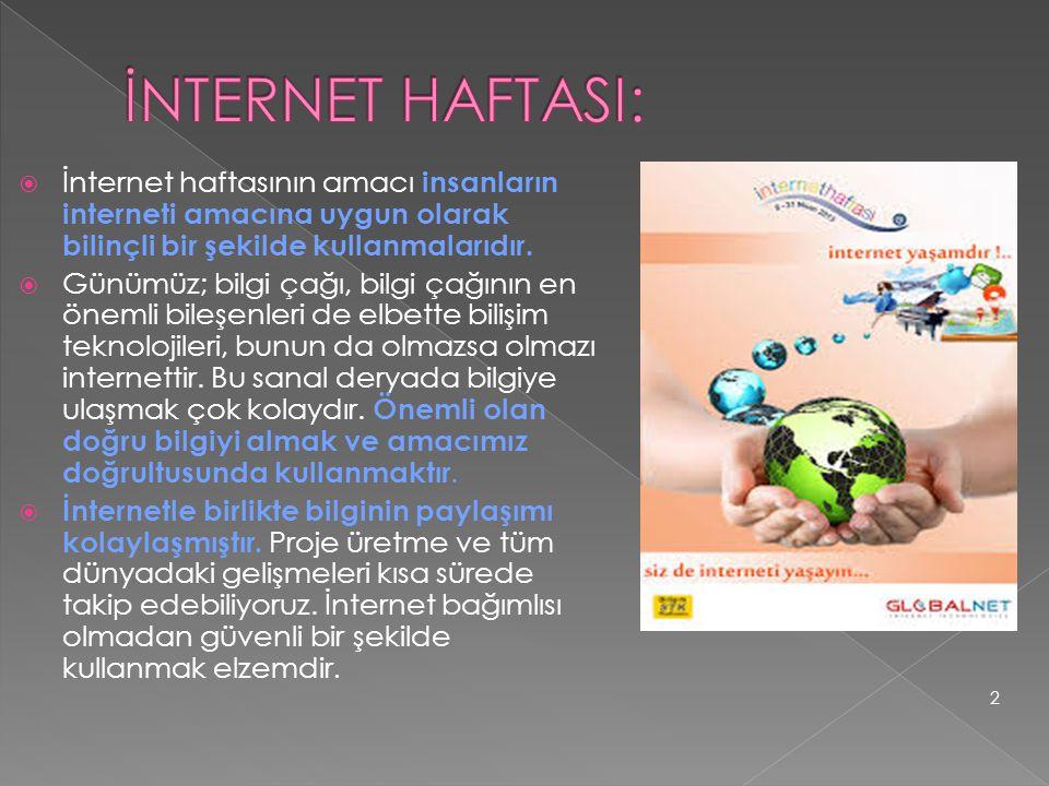  İnternet haftasının amacı insanların interneti amacına uygun olarak bilinçli bir şekilde kullanmalarıdır.  Günümüz; bilgi çağı, bilgi çağının en ön