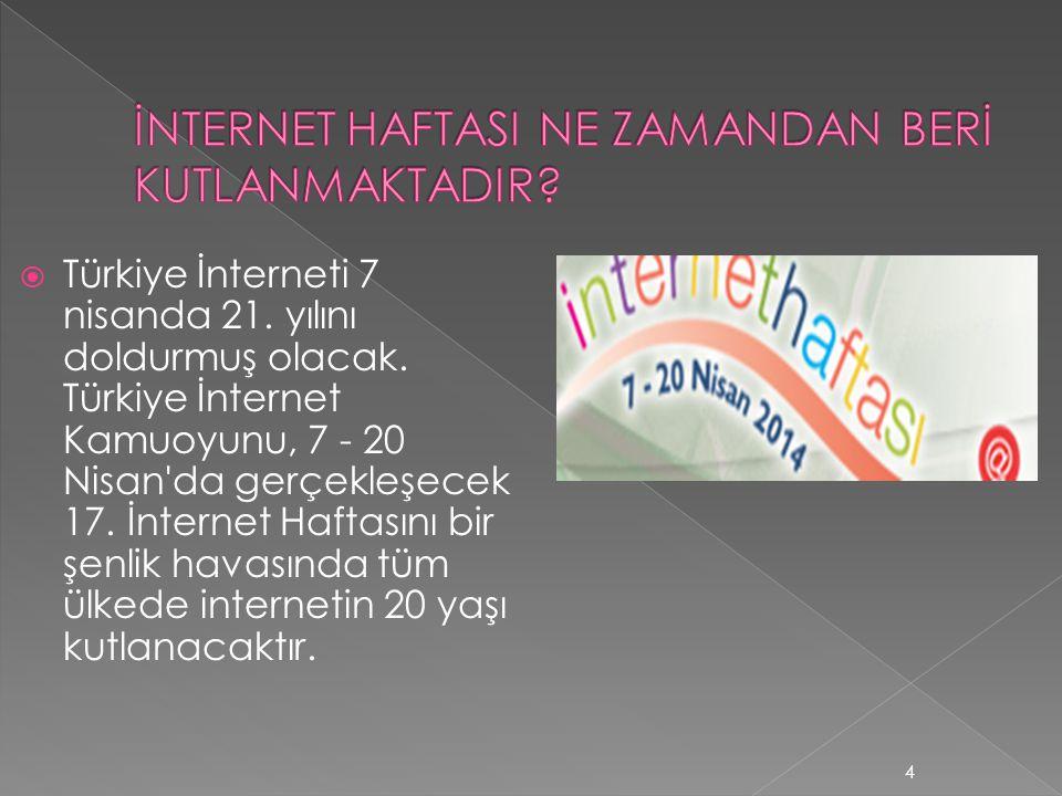  Türkiye İnterneti 7 nisanda 21. yılını doldurmuş olacak. Türkiye İnternet Kamuoyunu, 7 - 20 Nisan'da gerçekleşecek 17. İnternet Haftasını bir şenlik
