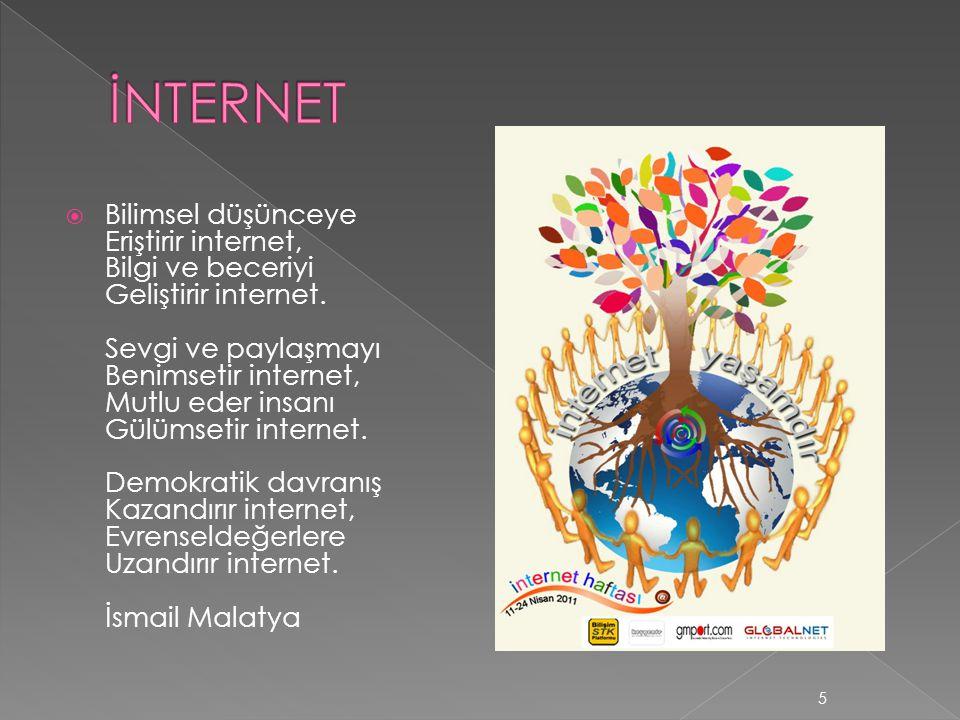  Bilimsel düşünceye Eriştirir internet, Bilgi ve beceriyi Geliştirir internet. Sevgi ve paylaşmayı Benimsetir internet, Mutlu eder insanı Gülümsetir
